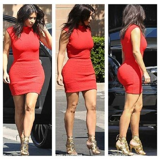 dress red dress kim kardashian pear body