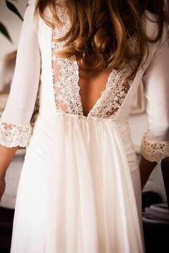 dress white white dress lace white lace cut-out cut-out dress three-quarter sleeves hipster wedding white lace dress cute dress long prom dress prom dress sheath column backless prom dress wedding wedding lace lace dress lacey dress
