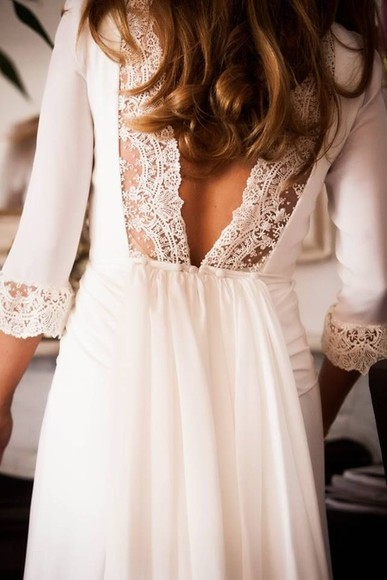 white dress white lace dress wedding clothes lacey wedding lace lace dress Lacey Dress dress white lace white lace cut-out cut-out dress three-quarter sleeves dress cute dress long prom dresses prom dress long prom dress sheath column backless prom dress