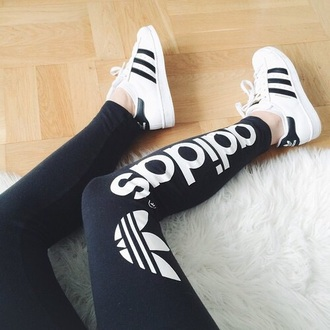 leggings adidas shoes adidas superstars adidas originals black white tights