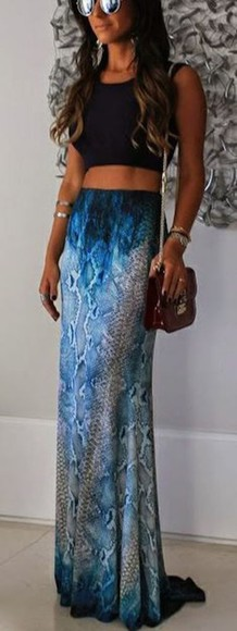 maxi skirt alligator cute blue