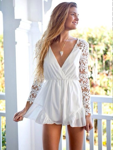 dentelle white white dress romper