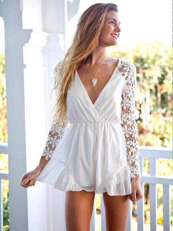 romper white dress white dentelle clothes dress cute dress lace dress lace summer dress floral dress
