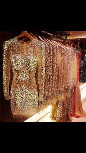 dress glitter rhinestones mesh dress