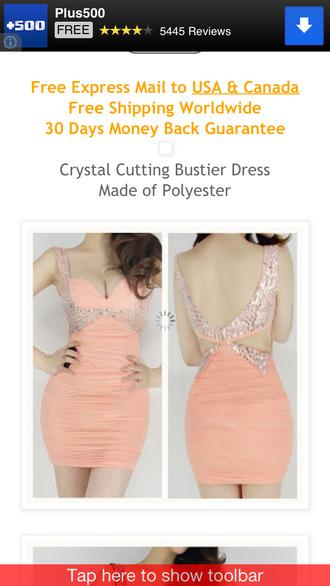 dress prom dress peach peach dress bustier cut-out dress cut-out crystal