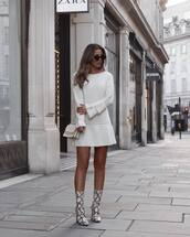 shoes,boots,ankle boots,snake print,mini dress,long sleeve dress,ruffle dress,white dress,shoulder bag,sunglasses