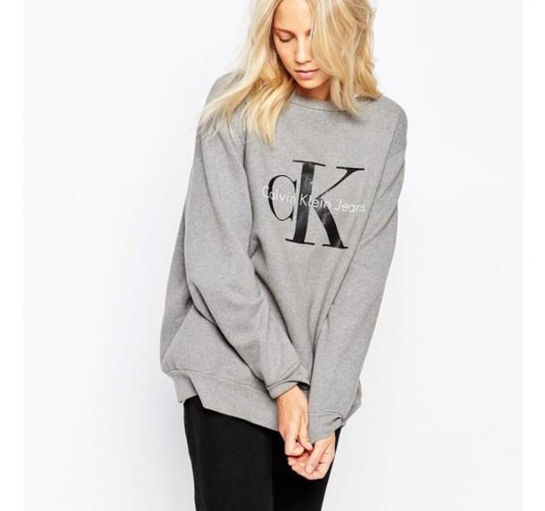 sweater grey oversized oversized sweater calvin klein. Black Bedroom Furniture Sets. Home Design Ideas