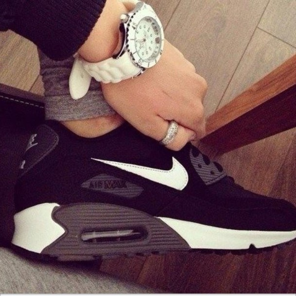 best sneakers b6874 300f3 sneakers shoes black white nike air nike air max 90 nike nikeair nike air  max 90