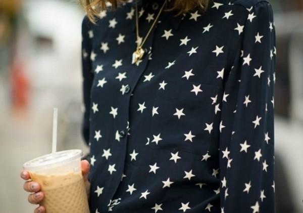 blouse star pattern stars black and white whie star black jacket american flag windbreaker