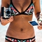 Color block geometric print bikini set