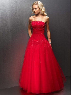 Buy Strapless Beaded Tulle Red Ball Gown Prom Dress	 under 200-SinoAnt.com