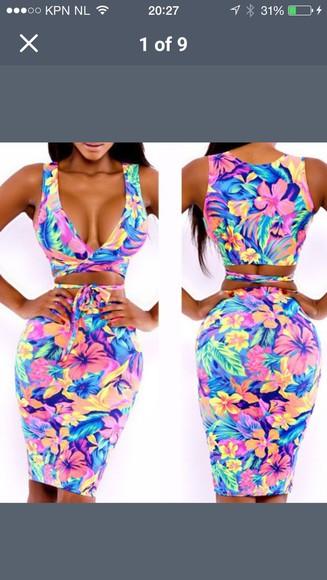 bodycon dress cutedress summer outfits summer dress tropical print