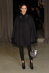 jacket,poncho,cape,all black everything,pants,olivia palermo,blogger,london fashion week 2017,fashion week 2017