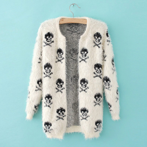Beige skull allover soft knit mohair cardigan
