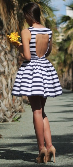 dress striped dress blue and white striped open back pleated