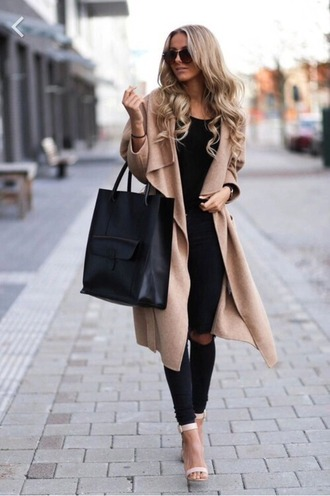 cardigan brown coat black jeans shoes bag