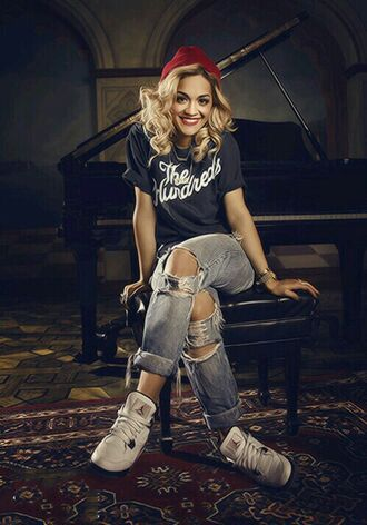 pants rita ora style cool boyfriend jeans swag street style girl singer t-shirt shoes