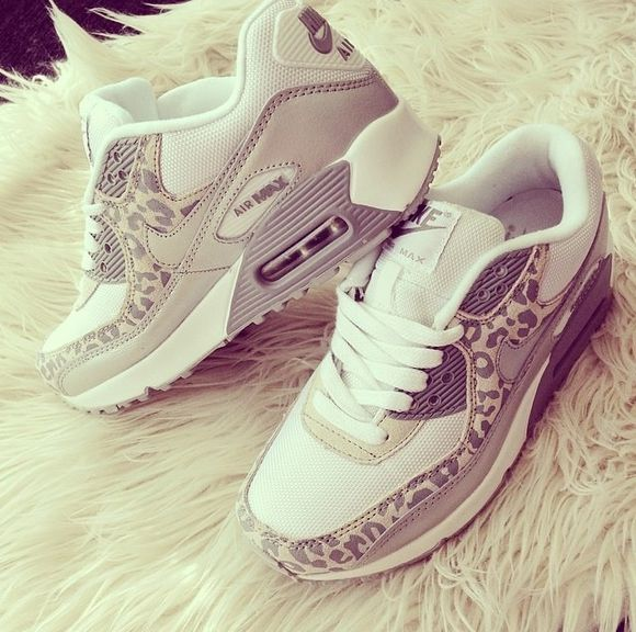 shoes sneakers print air max grey streetwear nike, beige, leopard, cheetah, white, sneakers, training