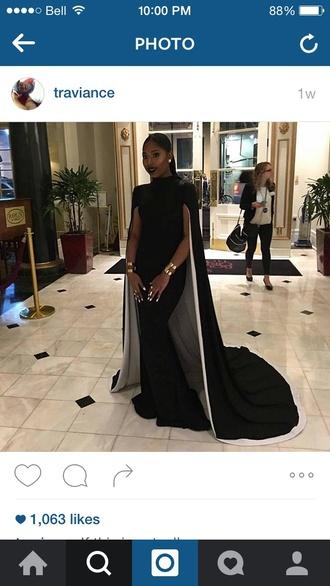 dress cape dress gown prom black long dress cape