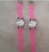 jewels,pink,rubber watch,silver,diamonds