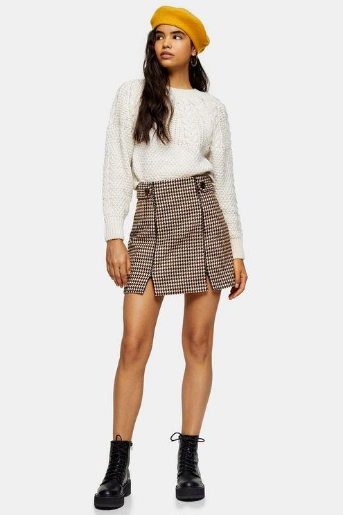 Cream And Tan Check Split Mini Skirt - Cream