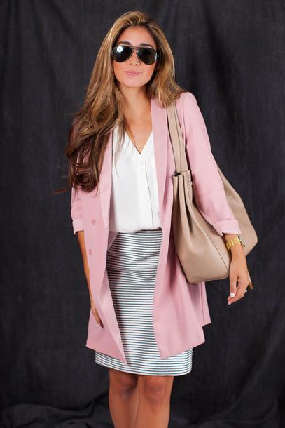 the darling detail - austin fashion blog blogger blouse skirt jacket bag shoes jewels sunglasses pink coat pink jacket nude bag beige bag aviator sunglasses stripes mini skirt