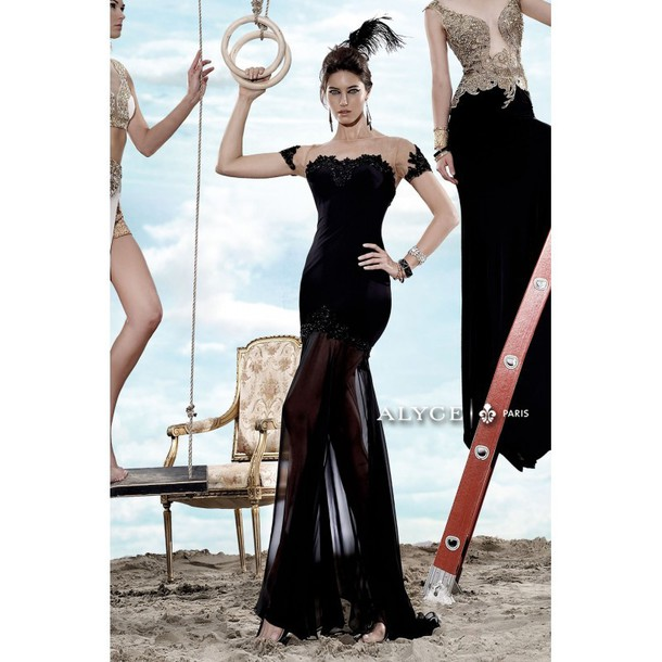 dress trendsgal.com bag gloves black gold fierce couture special occasion dress spring gown