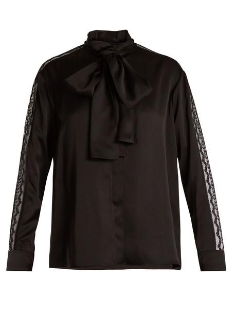 Stella McCartney blouse silk satin black top