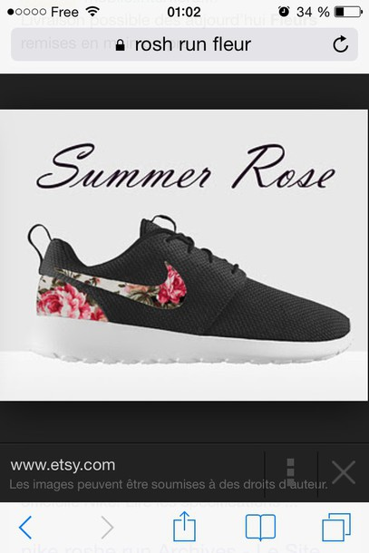shoes nike nikes floral black roses shoes running shoes fabric material pattern flowers love colour australia cheap pretty amazing sport sporty want rose roshe runs black floral nike roushe runs black with rose nike