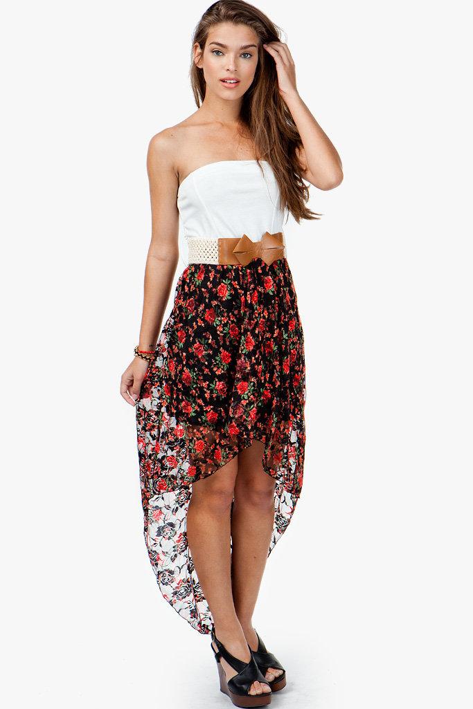 A'GACI Floral Printed Lace Hi Lo Dress W/ Bow Belt - DRESSES on Seapai