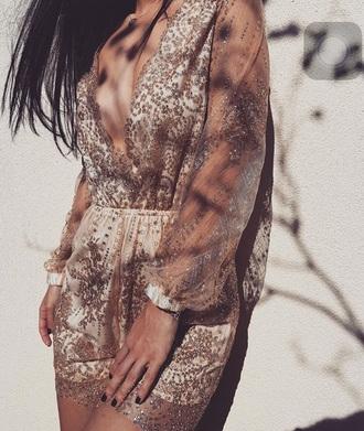 dress tan white gold dress plunge v neck party dress