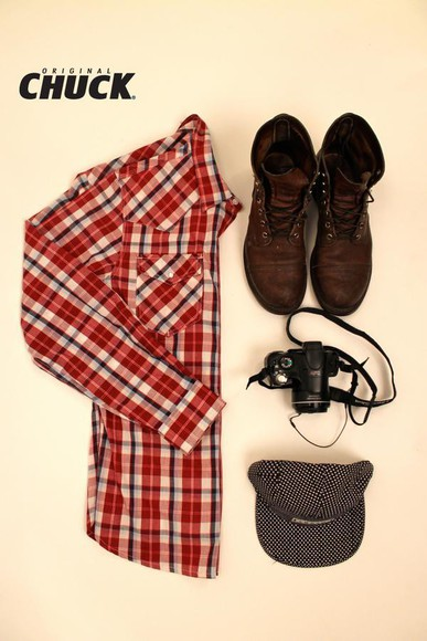 style boots hat camera flannel shirt dotted hat original chuck winter outfits fun outfit tile inspiration