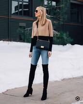 sweater,turtleneck sweater,wool sweater,knitted sweater,over the knee boots,black boots,high heels boots,jeans,skinny jeans,denim,winter outfits,crossbody bag,black bag