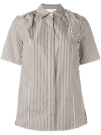 shirt striped shirt women cotton silk brown top
