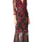 Marchesa notte threadwork embroidered gown - black