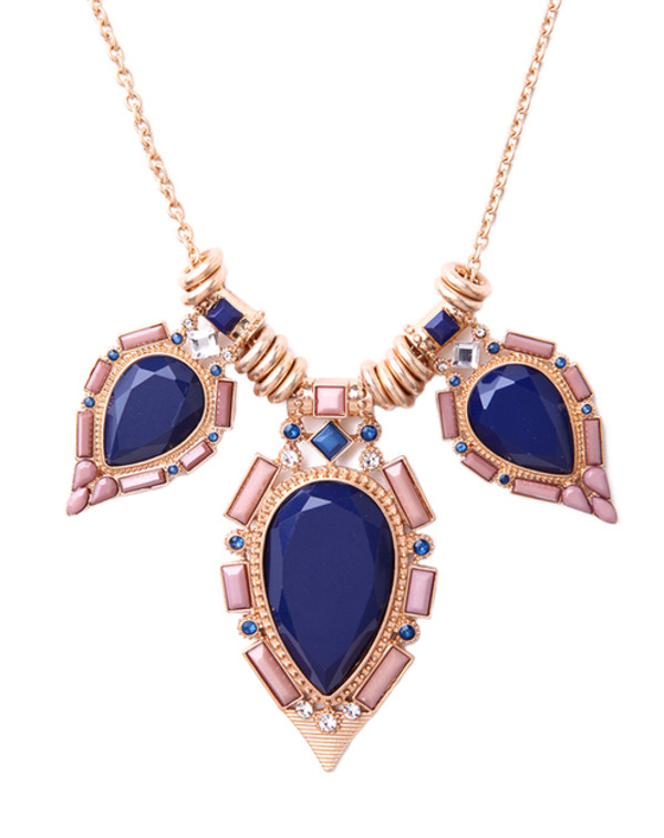 jewels necklace blue blue stone pink pink stone gold statement necklace statement necklace