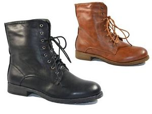 WOMENS LADIES ANKLE BOOTS MILITARY ARMY LACE UP WINTER COMBAT BOOTS SIZE 3 - 8 | eBay