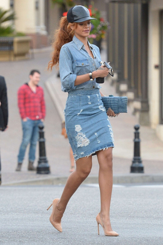 skirt jeans rihanna denim