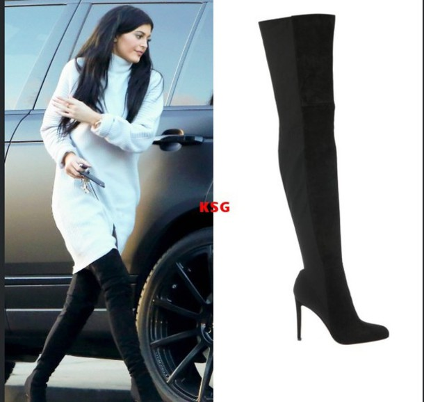 kylie jenner thigh high boots sweater dress shoes