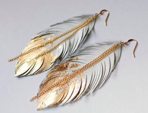 grey silver jewels earrings gold feather