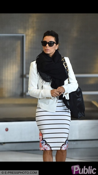 skirt eva longoria pencil skirt floral white jacket scarf white heels