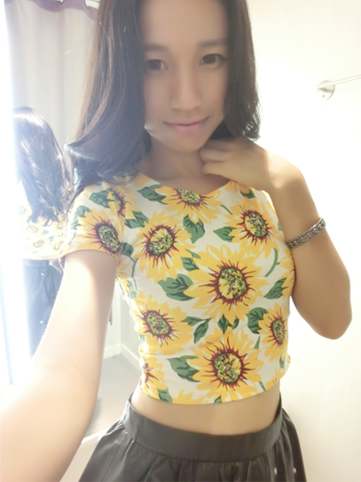 Fashion Sunflower Daisy Print Crop Tops Short Sleeve Stretchy Cropped T shirts For Women Floral Pattern Short Tee-inT-Shirts from Apparel & Accessories on Aliexpress.com
