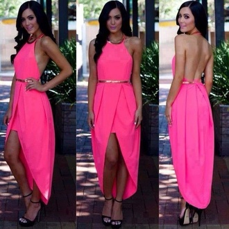 dress high low heels pumps shoes high low prom dresses high low dress pink dress pink neon neon pink belted maxi dress backless prom dress backless dress