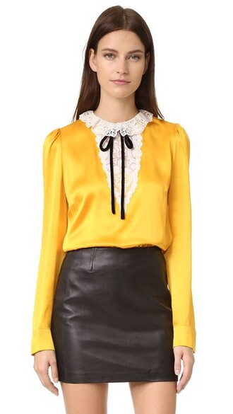blouse lace silk yellow top