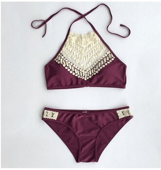 swimwear summer lace maroon/burgundy pretty