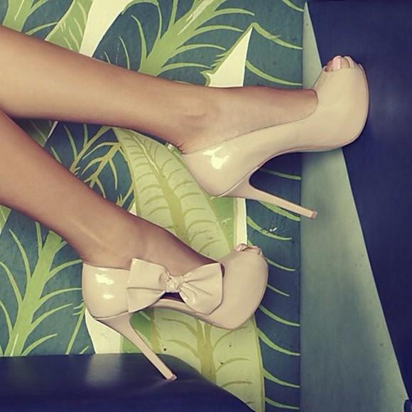bows nude high heels heels peep toe heels