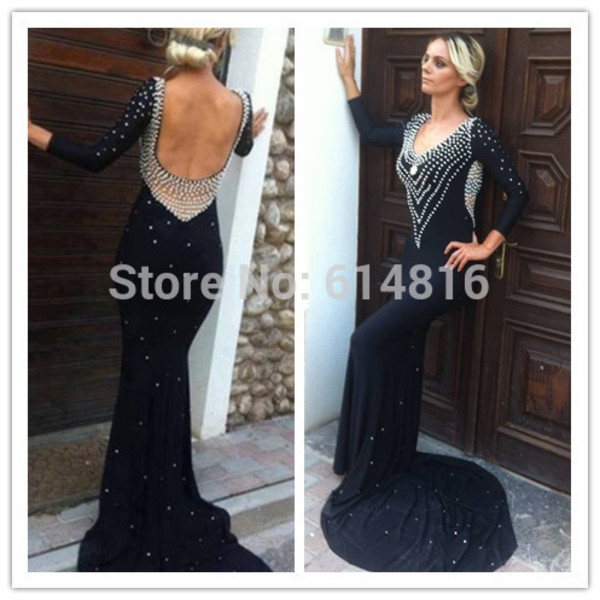 elegant dress prom dress backless dress long sleeve dress crystal