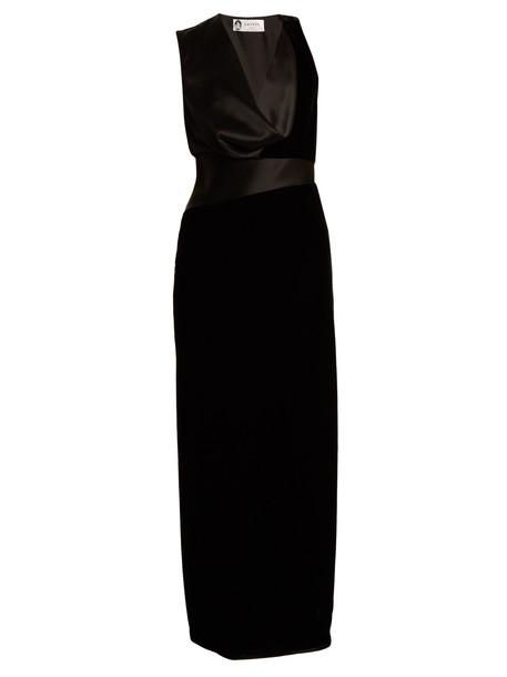 lanvin gown velvet satin black dress