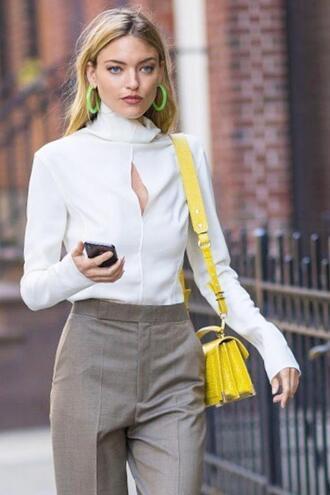 bag purse yellow pants shirt top martha hunt model off-duty streetstyle