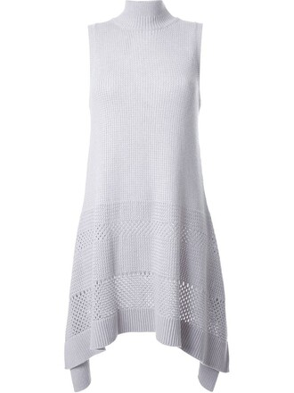 top draped top knit open draped grey